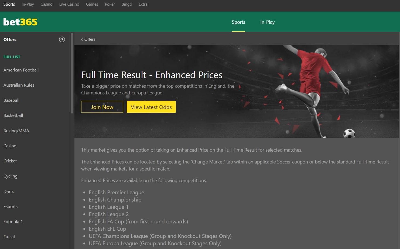 Bet365 enhanced odds