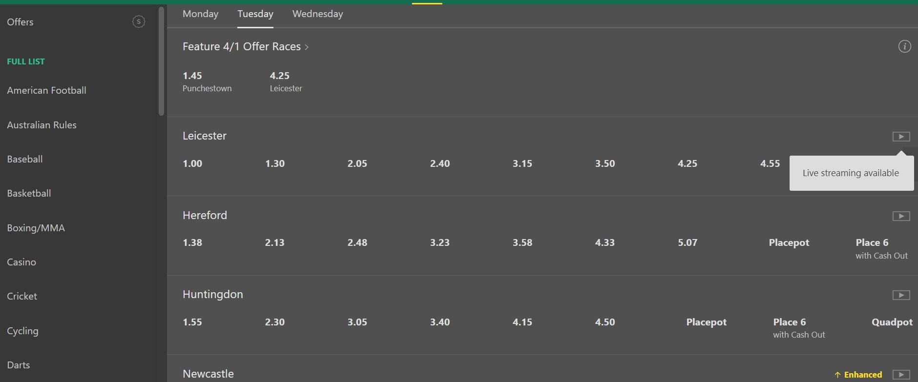Bet365 live horse racing streaming sites