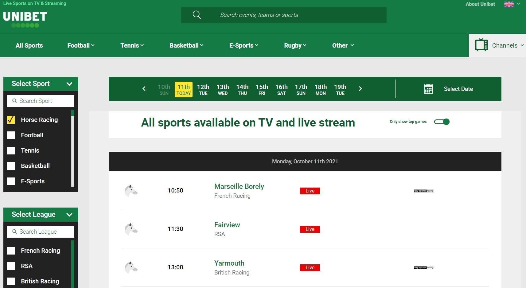 Unibet live horse racing streaming sites