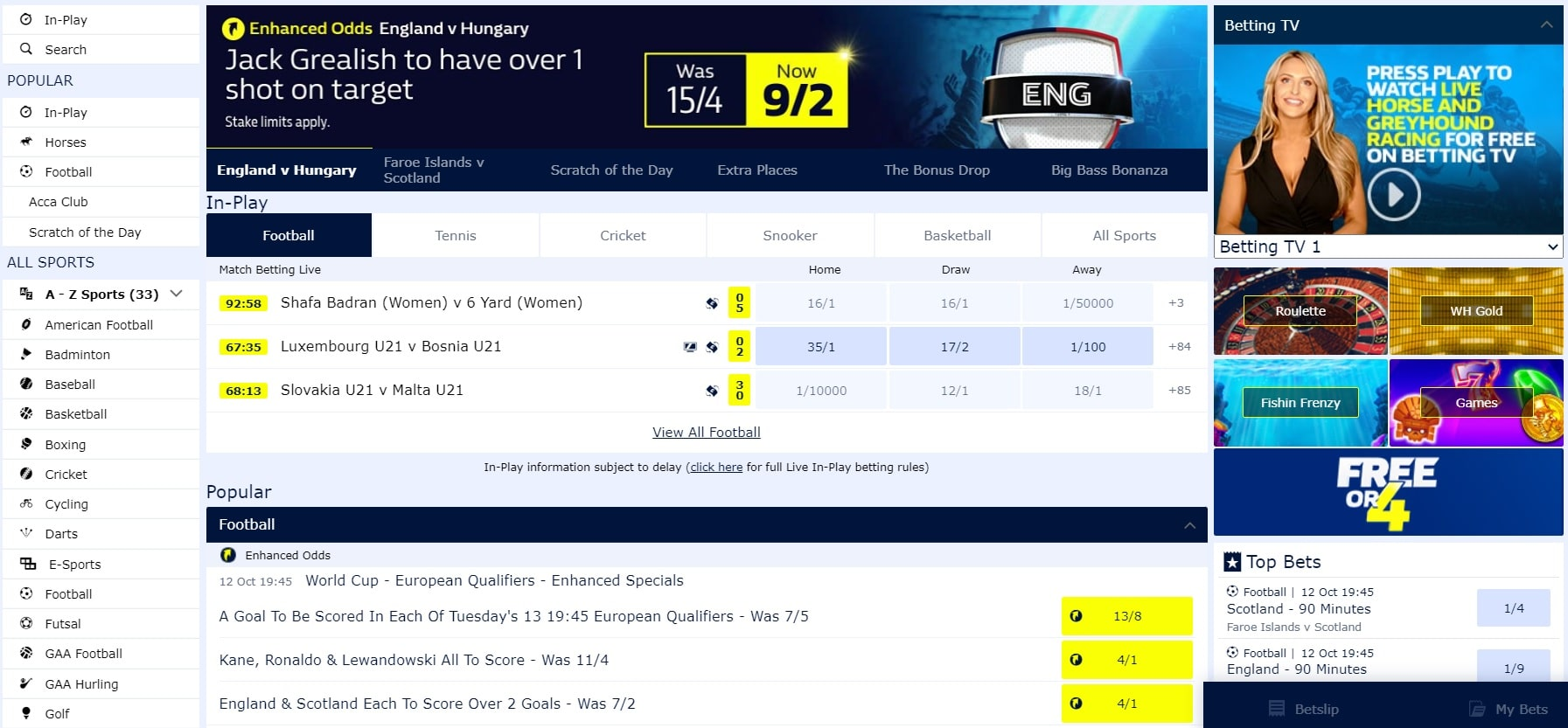 William Hill enhanced odds
